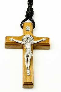 2476-7 Dark Wood St Benedict Crucifix On Rope