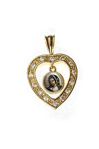 Gold Plated Heart Pendant with Guadalupe