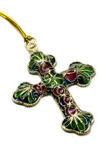Plique A Jour Cross with Enamel
