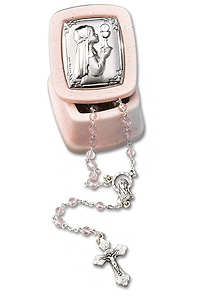 Pink Rosary Box with Silver Icon