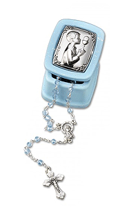 Blue Rosary Box with Silver Icon