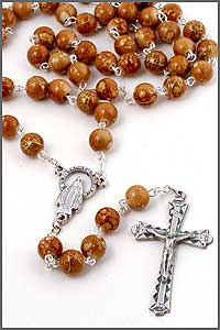 8mm Faux Marble Bead Rosary