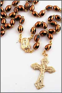 Brown Glass Bead Rosary